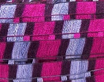 A new scarf yarn. It looks like a regular tape, but when knitted it gives you a frilly pattern. Excellent for scarfs and trims. Fiber Content 95% Acrylic, 5% Polyester, Maroon, Lilac, Brand ICE, Fuchsia, Yarn Thickness 6 SuperBulky  Bulky, Roving, fnt2-20922