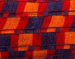 A new scarf yarn. It looks like a regular tape, but when knitted it gives you a frilly pattern. Excellent for scarfs and trims. Fiber Content 95% Acrylic, 5% Polyester, Red, Purple, Orange, Brand ICE, Yarn Thickness 6 SuperBulky  Bulky, Roving, fnt2-20964