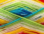 Fiber Content 60% Acrylic, 40% Wool, Yellow, White, Turquoise, Red, Brand Ice Yarns, Green, Yarn Thickness 3 Light  DK, Light, Worsted, fnt2-25951