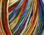 The yarn is hand-dyed. Dyeing process is totally hand made with natural plants and NO chemicals were used. For this reason, please be advised that some white parts may remain. Composition 100% Laine, Orange, Brand ICE, Cream, Brown, Blue, fnt2-36819