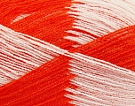 Very thin yarn. It is spinned as two threads. So you will knit as two threads. Yardage information if for two strands. Fiber Content 100% Acrylic, White, Orange, Brand ICE, fnt2-39110