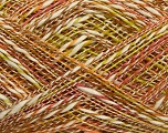 Fiber Content 56% Cotton, 44% Acrylic, Brand ICE, Green, Cream, Brown Shades, fnt2-39758