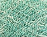 Fiber Content 8% Metallic Lurex, 59% Cotton, 33% Viscose, White, Silver, Mint Green, Brand ICE, fnt2-39886