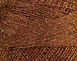 Fiber Content 70% Polyester, 30% Metallic Lurex, Brand ICE, Copper, Brown, Yarn Thickness 0 Lace  Fingering Crochet Thread, fnt2-40703