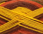 Fiber Content 75% Acrylic, 25% Wool, Yellow, Brand ICE, Green, Copper, Brown, Yarn Thickness 4 Medium  Worsted, Afghan, Aran, fnt2-41155