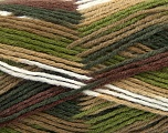 Fiber Content 80% Acrylic, 20% Wool, White, Brand ICE, Green, Brown Shades, Yarn Thickness 3 Light  DK, Light, Worsted, fnt2-41276