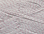 Composition 95% Acrylique, 5% Métallique Lurex, Pink, Light Grey, Brand Ice Yarns, Yarn Thickness 3 Light  DK, Light, Worsted, fnt2-44587