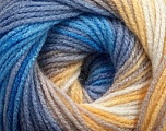 Composition 100% Acrylique, Yellow, White, Lilac, Brand Ice Yarns, Blue Shades, Yarn Thickness 3 Light  DK, Light, Worsted, fnt2-44712