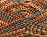 Composition 75% Superwash Wool, 25% Polyamide, Light Orange, Light Blue, Brand Ice Yarns, Camel, Cafe Latte, Yarn Thickness 1 SuperFine  Sock, Fingering, Baby, fnt2-45334