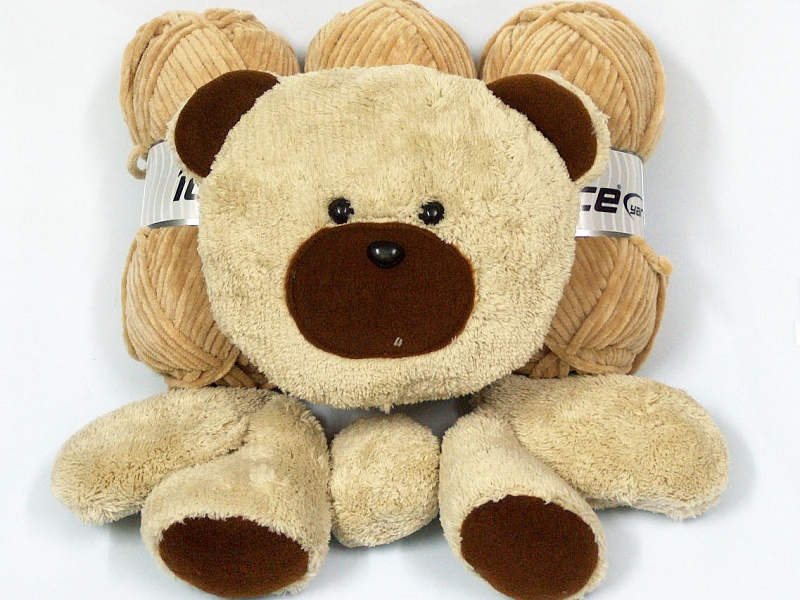 Animal Teddy Pillow : Animal Pillow Beige with Teddy at Yarn Paradise