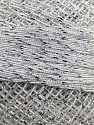Composition 70% Polyester, 30% Métallique Lurex, Brand YarnArt, White, Silver, Yarn Thickness 0 Lace  Fingering Crochet Thread, fnt2-17343
