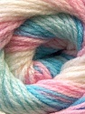 This is another self-stripping yarn. The difference of this type is it has both self-patterni and spots between the stripes. Composition 100% Baby acrylique, White, Pink, Multicolor, Brand ICE, Blue, Yarn Thickness 2 Fine  Sport, Baby, fnt2-21149