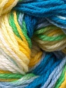 This is another self-stripping yarn. The difference of this type is it has both self-patterni and spots between the stripes. Fiber Content 100% Baby Acrylic, Yellow, White, Multicolor, Brand ICE, Green, Blue, Yarn Thickness 2 Fine  Sport, Baby, fnt2-21916