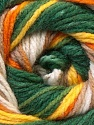 This is another self-stripping yarn. The difference of this type is it has both self-patterni and spots between the stripes. Fiber Content 100% Baby Acrylic, Yellow, Orange, Brand ICE, Green, Cream, Brown, Yarn Thickness 2 Fine  Sport, Baby, fnt2-21920