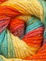 Composition 95% Acrylique, 5% Lurex, Yellow, Orange, Light Blue, Brand ICE, Green, Yarn Thickness 3 Light  DK, Light, Worsted, fnt2-22057