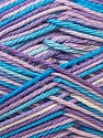 Fiber Content 100% Mercerised Cotton, White, Lilac, Brand ICE, Blue, Yarn Thickness 2 Fine  Sport, Baby, fnt2-23343