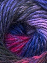 A self-striping yarn, which gets its design when knitted Fiber Content 100% Wool, Purple, Lilac, Brand KUKA, Fuchsia, Black, Yarn Thickness 4 Medium  Worsted, Afghan, Aran, fnt2-23827