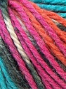 Fiber Content 40% Acrylic, 35% Wool, 25% Alpaca, Turquoise, Orange, Brand ICE, Fuchsia, Yarn Thickness 5 Bulky  Chunky, Craft, Rug, fnt2-25425