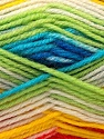 Fiber Content 60% Acrylic, 40% Wool, Yellow, White, Turquoise, Red, Multicolor, Brand ICE, Green, Yarn Thickness 3 Light  DK, Light, Worsted, fnt2-25951