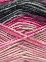 Fiber Content 45% Wool, 45% Bamboo, 10% Acrylic, Pink Shades, Brand ICE, Grey, Black, Yarn Thickness 3 Light  DK, Light, Worsted, fnt2-25988