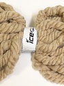 Superbulky A supersuperbulky yarn with elastan in the middle. You can make a scarf in minutes using your hands, you do not need any needles to knit for this yarn. You can even use the yarn without knitting. You can just use as is as a scarf. Composition 97% Laine australienne, 3% Elastan, Brand ICE, Beige, Yarn Thickness 6 SuperBulky  Bulky, Roving, fnt2-26163