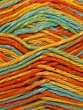 Composition 70% Coton, 30% Viscose, Yellow, Turquoise, Orange, Brand ICE, Yarn Thickness 2 Fine  Sport, Baby, fnt2-27303