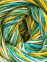 Fiber Content 50% Cotton, 50% Viscose, Yellow, White, Turquoise, Brand ICE, Green Shades, Yarn Thickness 2 Fine  Sport, Baby, fnt2-27316