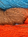 In this yarn a 100% Cotton flamme yarn is used. Dyeing process is totally hand made with natural plants and NO chemicals were used. Fiber Content 100% Cotton, Orange, Brand ICE, Camel, Blue, Yarn Thickness 3 Light  DK, Light, Worsted, fnt2-29463