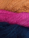 In this yarn a 100% Cotton flamme yarn is used. Dyeing process is totally hand made with natural plants and NO chemicals were used. Fiber Content 100% Cotton, Orchid, Navy, Brand ICE, Camel, Yarn Thickness 3 Light  DK, Light, Worsted, fnt2-29471