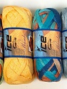A fresh scarf  yarn wiith cotton content. Shiny and fresh! Fiber Content 70% Cotton, 30% Nylon, Mixed Lot, Brand ICE, fnt2-31353