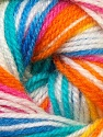 Fiber Content 100% Premium Acrylic, Yellow, White, Turquoise, Pink, Orange, Brand ICE, Blue, Yarn Thickness 3 Light  DK, Light, Worsted, fnt2-33400