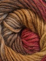 A self-striping yarn, which gets its design when knitted Fiber Content 100% Wool, Olive Green, Brand KUKA, Camel, Burgundy, Brown Shades, Yarn Thickness 4 Medium  Worsted, Afghan, Aran, fnt2-34501