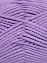 This is a tube-like yarn with soft fleece inside. Fiber Content 73% Viscose, 27% Polyester, Lavender, Brand ICE, fnt2-35608