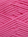 This is a tube-like yarn with soft fleece inside. Fiber Content 73% Viscose, 27% Polyester, Pink, Brand ICE, fnt2-35610