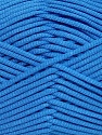 This is a tube-like yarn with soft fleece inside. Fiber Content 73% Viscose, 27% Polyester, Brand ICE, Blue, fnt2-35613