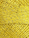 Fiber Content 70% Polyester, 30% Metallic Lurex, Yellow, Brand Ice Yarns, Yarn Thickness 0 Lace  Fingering Crochet Thread, fnt2-38605
