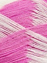 Very thin yarn. It is spinned as two threads. So you will knit as two threads. Yardage information if for two strands. Fiber Content 100% Acrylic, White, Orchid, Brand Ice Yarns, Yarn Thickness 1 SuperFine  Sock, Fingering, Baby, fnt2-39108