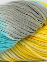 In this yarn a 100% Cotton lase yarn is used. Dyeing process is totally hand made with natural plants and NO chemicals were used. For this reason, please be advised that some white parts may remain. Fiber Content 100% Cotton, Yellow, White, Light Blue, Brand ICE, Grey, fnt2-39233
