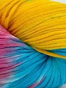 In this yarn a 100% Cotton lase yarn is used. Dyeing process is totally hand made with natural plants and NO chemicals were used. For this reason, please be advised that some white parts may remain. Fiber Content 100% Cotton, Yellow, White, Turquoise, Brand ICE, Fuchsia, fnt2-39238