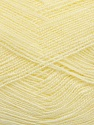 Very thin yarn. It is spinned as two threads. So you will knit as two threads. Yardage information is for only one strand. Fiber Content 100% Acrylic, Light Yellow, Brand Ice Yarns, Yarn Thickness 1 SuperFine  Sock, Fingering, Baby, fnt2-39398
