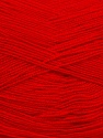 Very thin yarn. It is spinned as two threads. So you will knit as two threads. Yardage information is for only one strand. Fiber Content 100% Acrylic, Red, Brand ICE, Yarn Thickness 1 SuperFine  Sock, Fingering, Baby, fnt2-39402