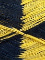 Very thin yarn. It is spinned as two threads. So you will knit as two threads. Yardage information if for two strands. Fiber Content 100% Acrylic, Yellow, Navy, Brand ICE, fnt2-39623