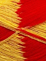 Very thin yarn. It is spinned as two threads. So you will knit as two threads. Yardage information if for two strands. Fiber Content 100% Acrylic, Yellow, Red, Brand ICE, fnt2-39624