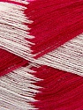 Very thin yarn. It is spinned as two threads. So you will knit as two threads. Yardage information if for two strands. Fiber Content 100% Acrylic, White, Brand ICE, Dark Fuchsia, fnt2-39625