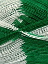 Very thin yarn. It is spinned as two threads. So you will knit as two threads. Yardage information if for two strands. Fiber Content 100% Acrylic, White, Brand ICE, Green, fnt2-39626