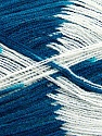 Very thin yarn. It is spinned as two threads. So you will knit as two threads. Yardage information if for two strands. Fiber Content 100% Acrylic, White, Teal, Brand ICE, fnt2-39628
