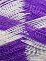 Very thin yarn. It is spinned as two threads. So you will knit as two threads. Yardage information if for two strands. Fiber Content 100% Acrylic, White, Lavender, Brand ICE, fnt2-39630