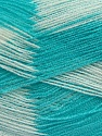 Very thin yarn. It is spinned as two threads. So you will knit as two threads. Yardage information if for two strands. Fiber Content 100% Acrylic, White, Mint Green, Brand ICE, fnt2-39631