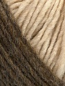 Please note that the yarn is a self-striping yarn. See package photos for the color appaerance Fiber Content 60% Acrylic, 40% Wool, Brand ICE, Cream, Camel, fnt2-39682