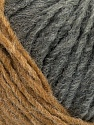 Please note that the yarn is a self-striping yarn. See package photos for the color appaerance Fiber Content 60% Acrylic, 40% Wool, Brand ICE, Grey, Camel, fnt2-39685